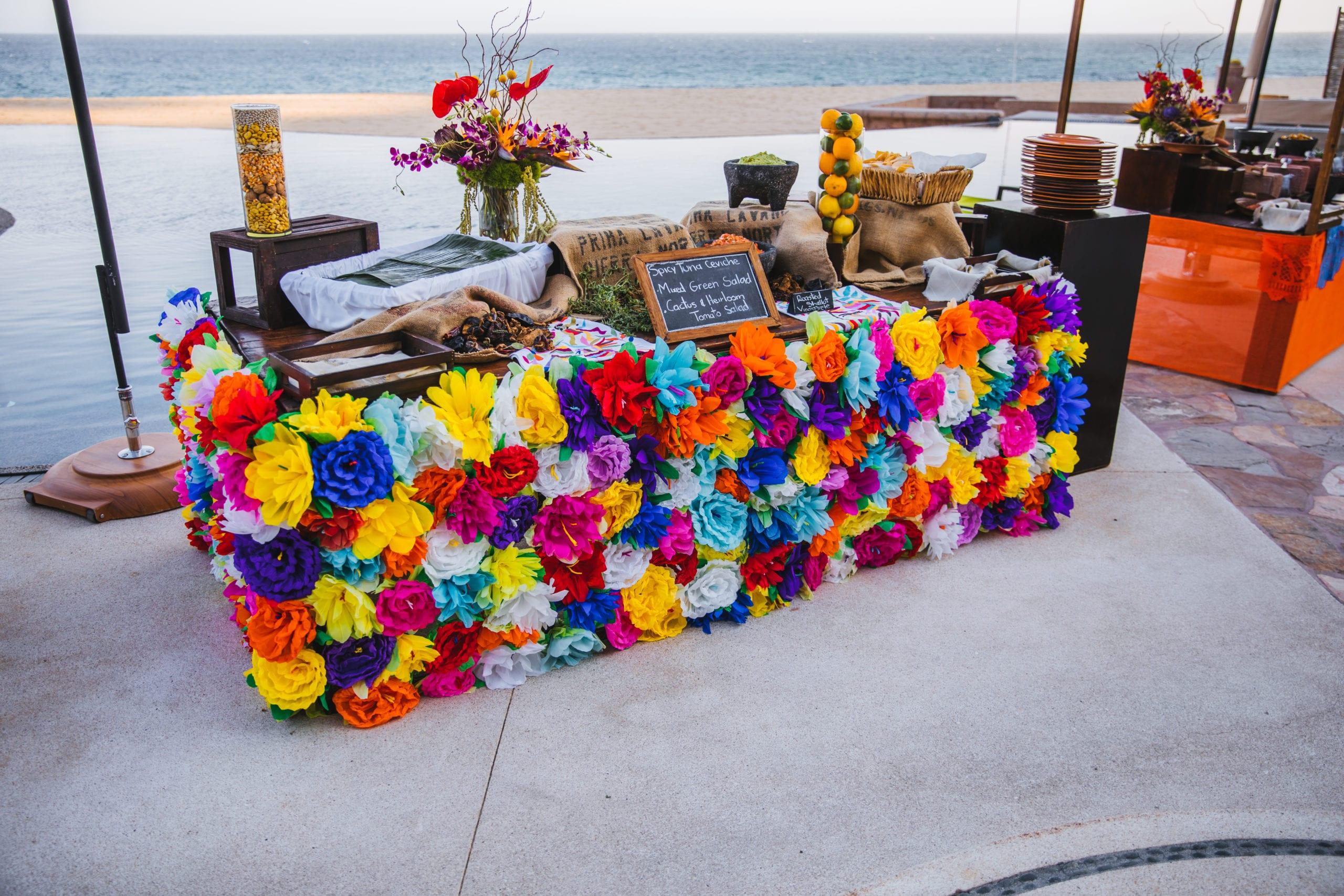Food sampling desk in Cabo